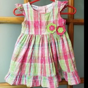 Blueberi Boulevard Baby Girls Plaid Flower Dress